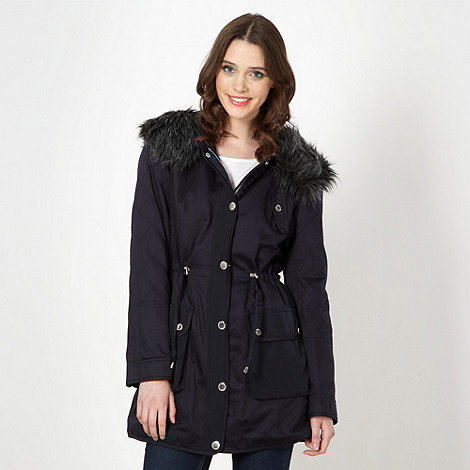 Butterfly by Matthew Williamson - Designer navy borg lined parka jacket