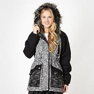 Designer black boucle hooded parka coat