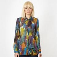 Designer multicoloured feather embellished blouse