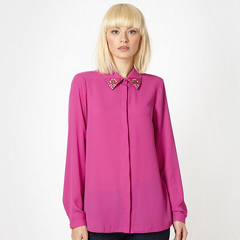 Butterfly by Matthew Williamson - Designer pink embellished blouse