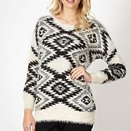 Designer black aztec knit jumper