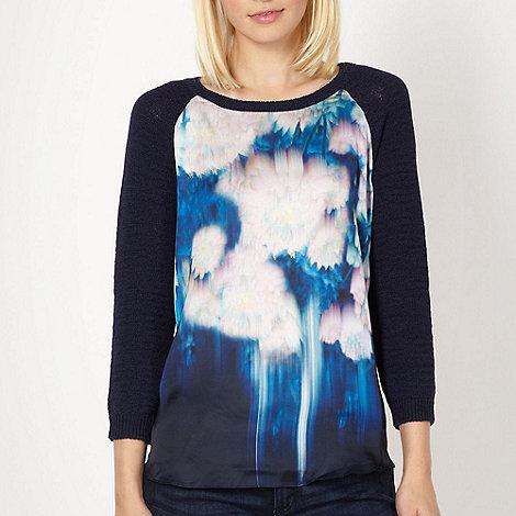 Butterfly by Matthew Williamson - Designer blue blurred floral jumper