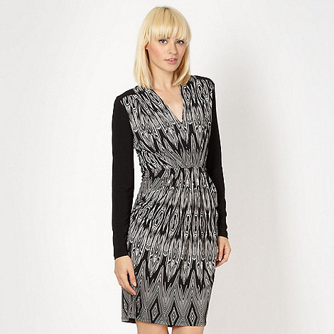 Butterfly by Matthew Williamson - Designer black zig zag jersey dress