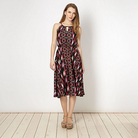 Butterfly by Matthew Williamson - Designer red star tile tie neck dress