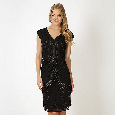 Butterfly by Matthew Williamson - Designer black embellished flapper dress