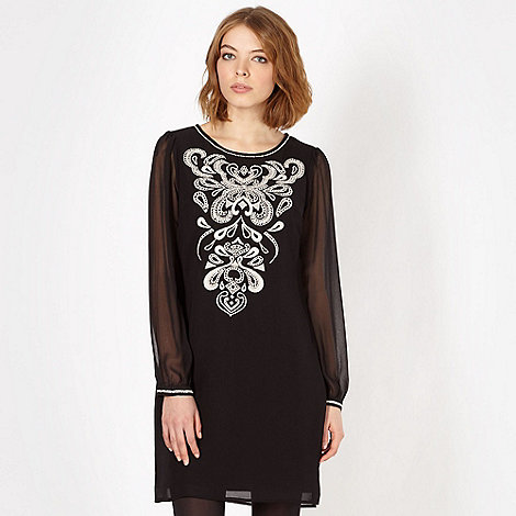 Butterfly by Matthew Williamson - Designer black embroidered front dress