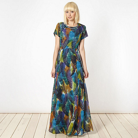 Butterfly by Matthew Williamson - Designer multicoloured feather embellished maxi dress