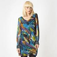 Designer multicoloured feather embellished tunic dress
