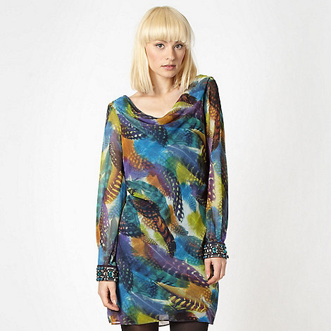 Butterfly by Matthew Williamson - Designer multicoloured feather embellished tunic dress