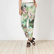 Designer green summer meadow crepe trousers