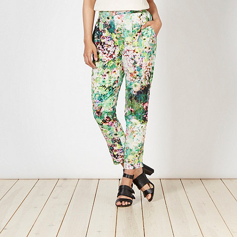 Butterfly by Matthew Williamson - Designer green summer meadow crepe trousers