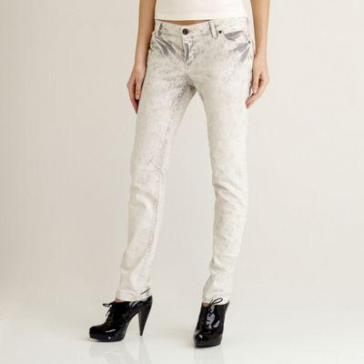 Pale grey straight leg tie dye jeans