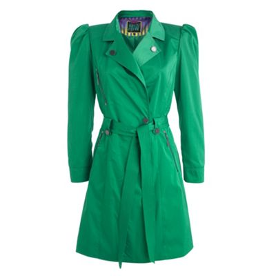 Mint green belted trench coat