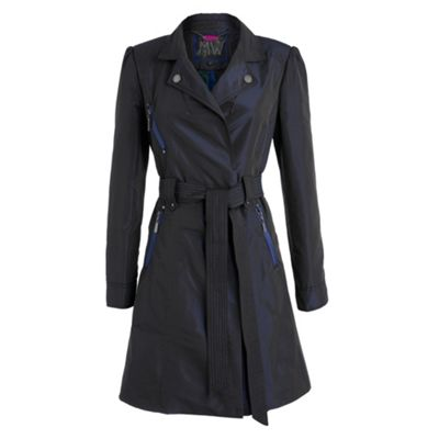 Navy mid-length trench coat