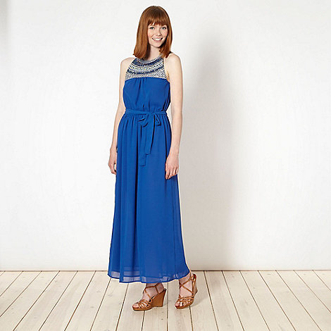Butterfly by Matthew Williamson - Designer royal blue cut away maxi dress