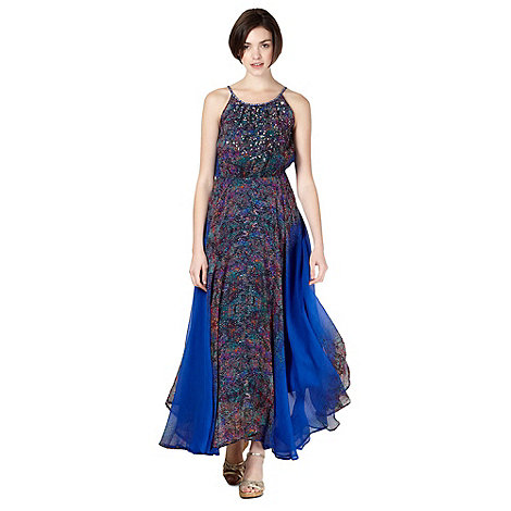Butterfly by Matthew Williamson - Designer royal blue snake print sequin maxi dress