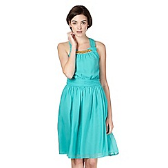 Butterfly by Matthew Williamson - Designer turquoise knot detail dress