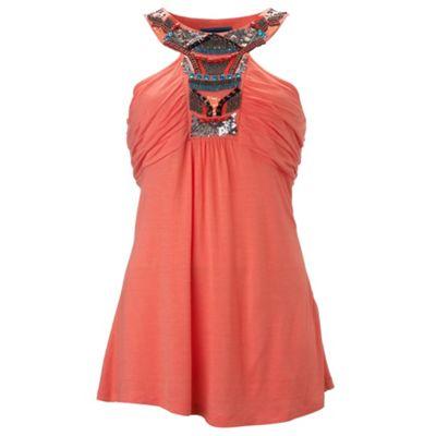 Coral embellished neck camisole