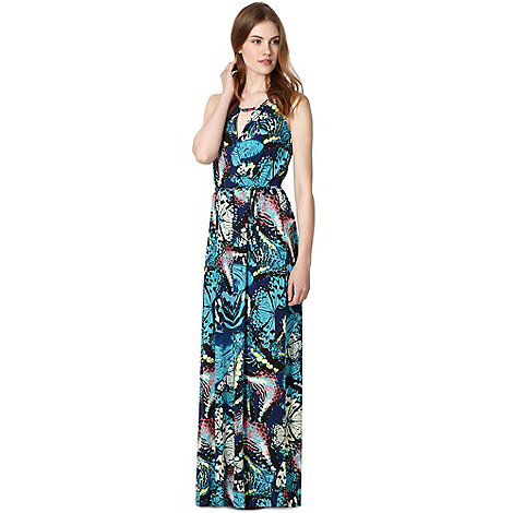 Butterfly by Matthew Williamson - Designer dark blue butterfly jersey maxi dress