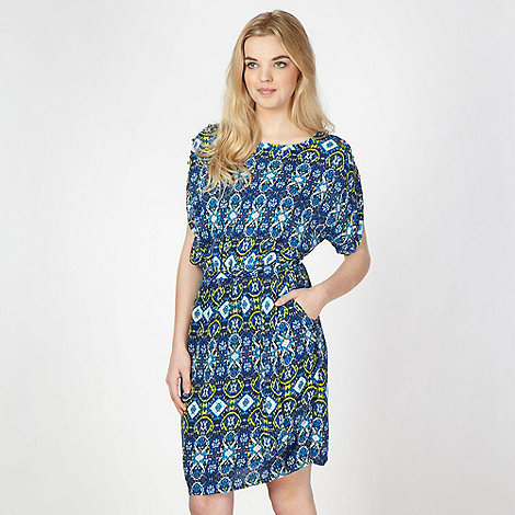 Butterfly by Matthew Williamson - Designer navy geometric button shoulder dress