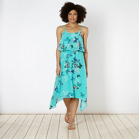 Butterfly by Matthew Williamson - Designer aqua butterfly print asymmetric hem midi dress