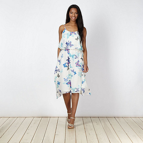 Butterfly by Matthew Williamson - Designer ivory butterfly print asymmetric hem midi dress