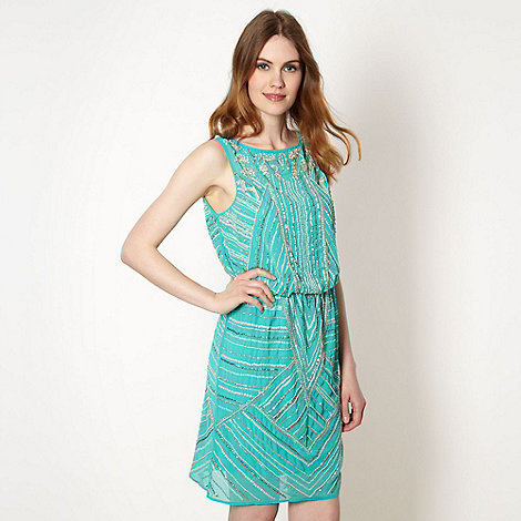 Butterfly by Matthew Williamson - Designer turquoise all over sequin dress