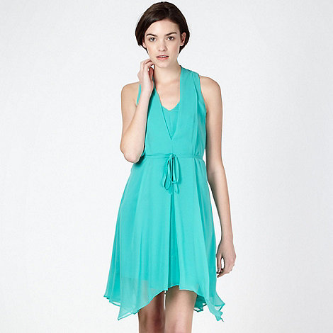Butterfly by Matthew Williamson - Designer aqua sleeveless chiffon dress