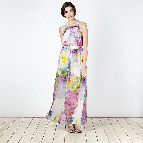 Butterfly by Matthew Williamson - Designer purple floral knot maxi dress