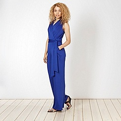 Butterfly by Matthew Williamson - Designer bright blue drape front jumpsuit