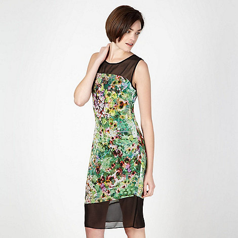 Butterfly by Matthew Williamson - Green panel meadow print shift dress