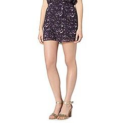 Butterfly by Matthew Williamson - Designer purple feather shorts