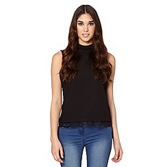 Butterfly by Matthew Williamson - Designer black lace edge crepe top