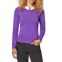 Butterfly by Matthew Williamson - Designer purple embellished collar jumper