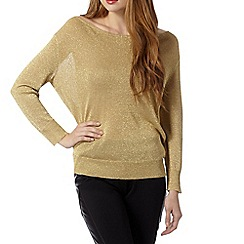 Butterfly by Matthew Williamson - Designer gold metallic cowl neck jumper