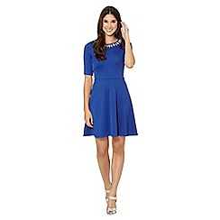 Butterfly by Matthew Williamson - Designer bright blue embellished neck flared dress