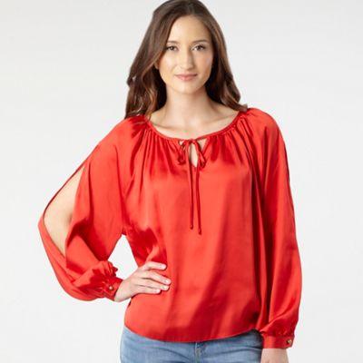 Orange split sleeve blouse