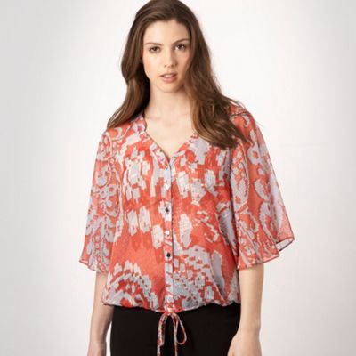 Red lace print blouse