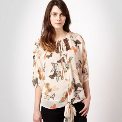 Cream butterfly print tied blouse