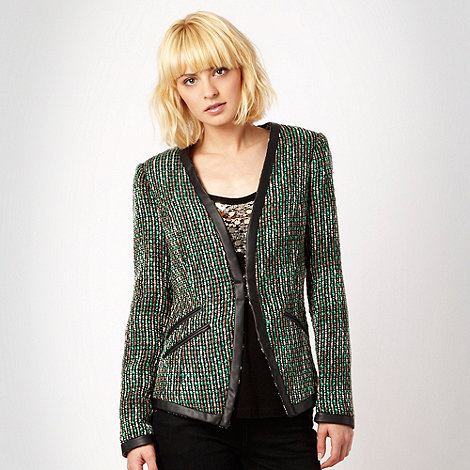 Butterfly by Matthew Williamson - Green tweed jacket with faux leather trim