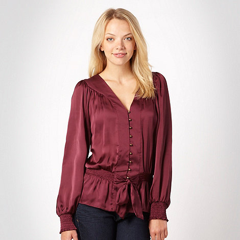 Butterfly by Matthew Williamson - Wine tie hem satin blouse