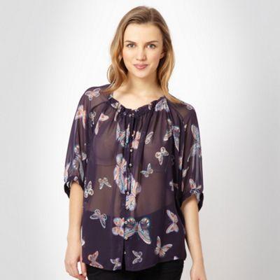 Navy aztec butterfly blouse