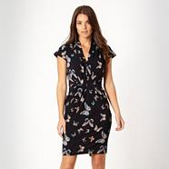 Designer navy patterned butterfly printed jersey dress