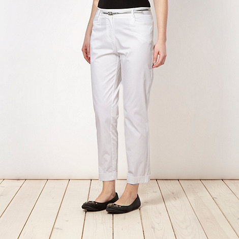 Butterfly by Matthew Williamson - Designer white belted cropped chinos
