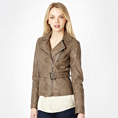 Butterfly by Matthew Williamson - Taupe faux leather belted biker jacket