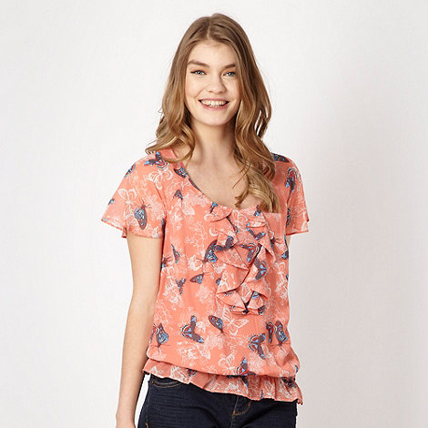 Butterfly by Matthew Williamson - Light peach ruffled butterfly top