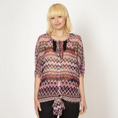 Designer pink heart aztec blouse