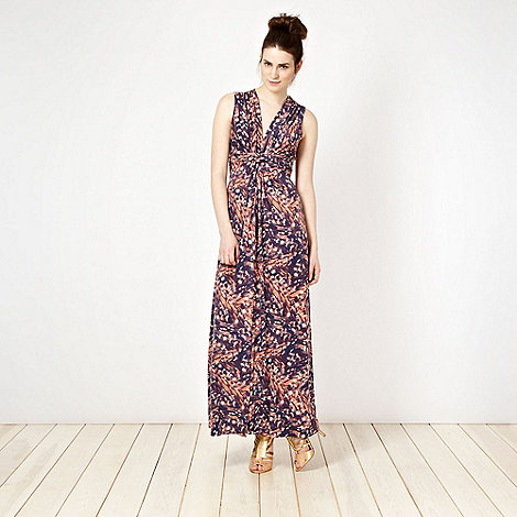 Butterfly by Matthew Williamson - Designer purple feather printed maxi dress