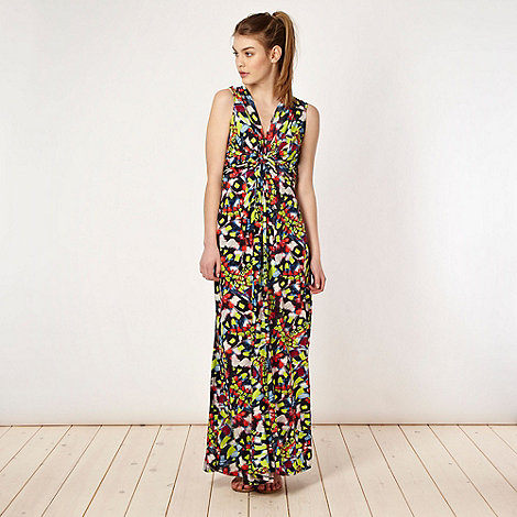 Butterfly by Matthew Williamson - Designer lime fluorescent butterfly maxi dress