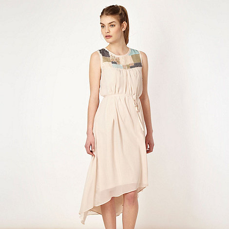 Butterfly by Matthew Williamson - Designer cream dipped hem embellished maxi dress